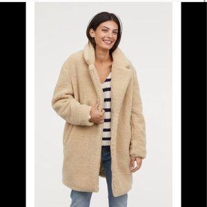 H&M L.O.G.G. Faux Fur Teddy Coat
